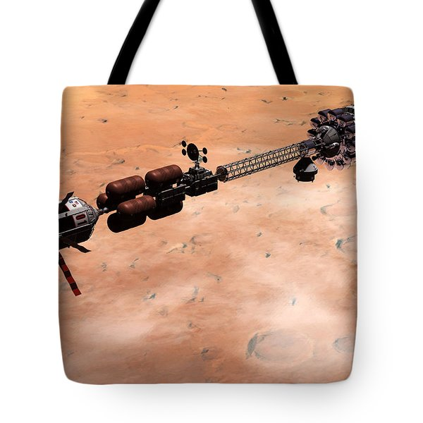 Tote Bag featuring the digital art Hermes1 Over Mars by David Robinson