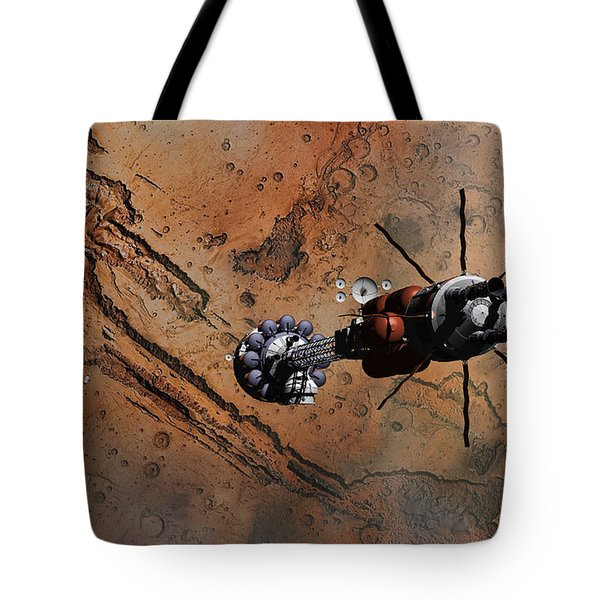 Tote Bag featuring the digital art Hermes1 With The Mars Lander Ares1 In Sight by David Robinson