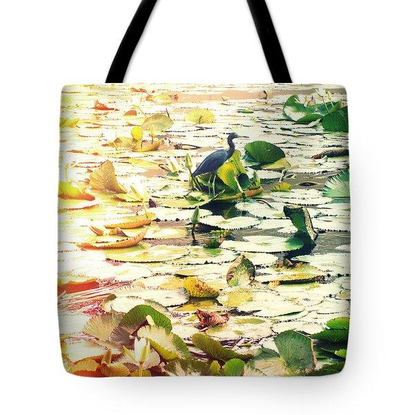 Heron Among Lillies Photography Light Leaks Tote Bag