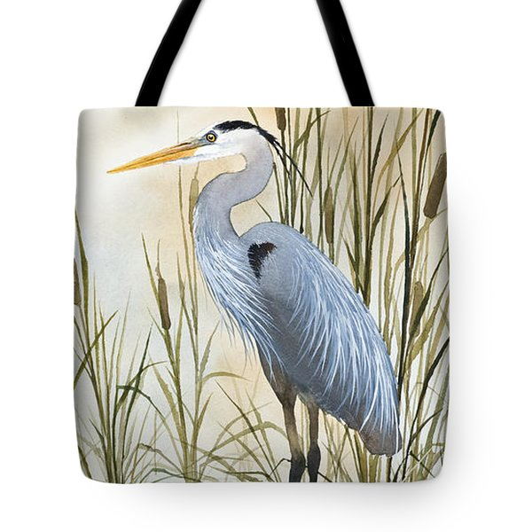 Heron And Cattails Tote Bag