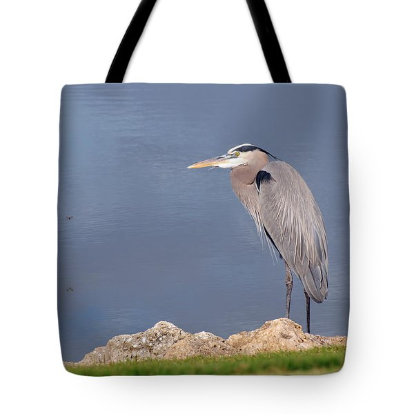 Heron And Pond Tote Bag by Kenny Francis
