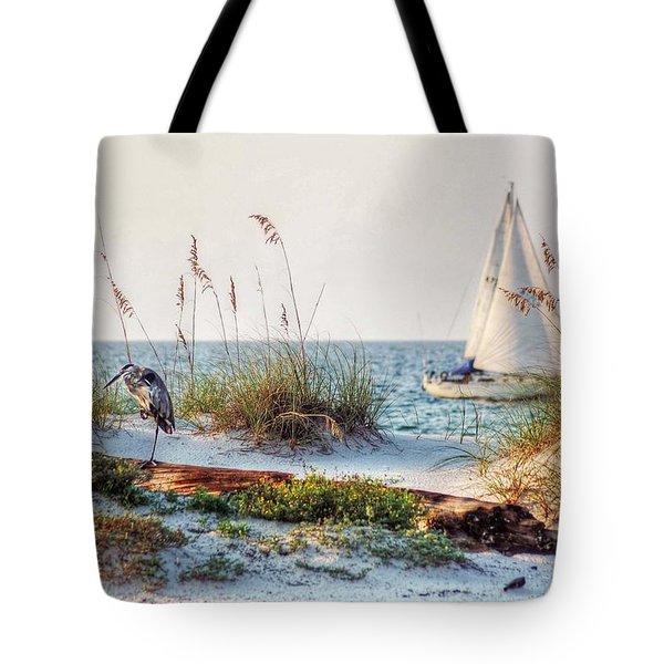 Heron And Sailboat Tote Bag by Michael Thomas