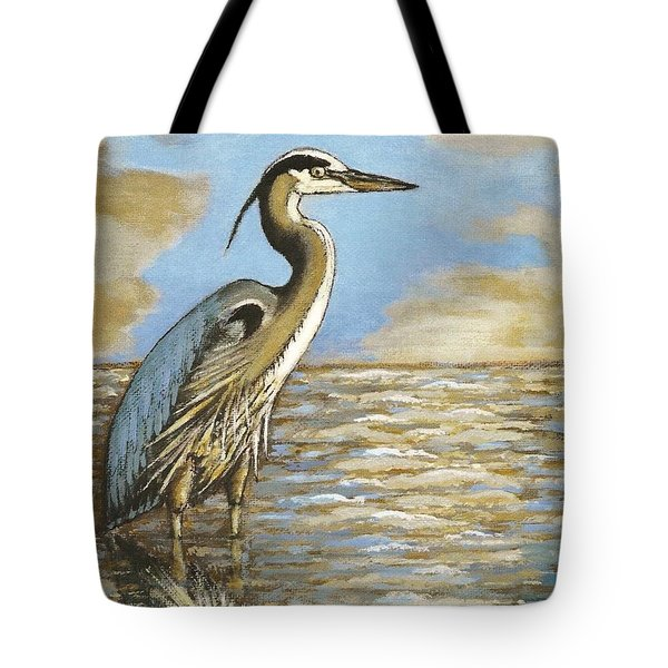 Tote Bag featuring the painting Heron At Bay by VLee Watson