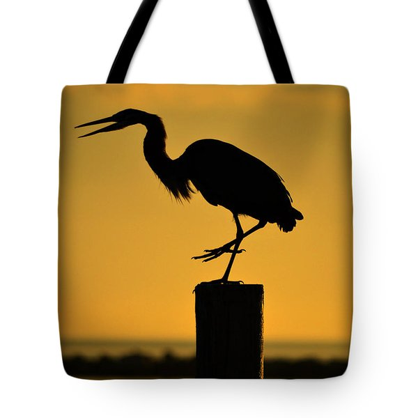 Heron At Sunrise Tote Bag by Leticia Latocki