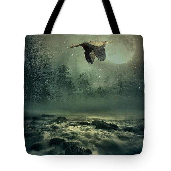 Heron By Moonlight Tote Bag by Andrea Kollo