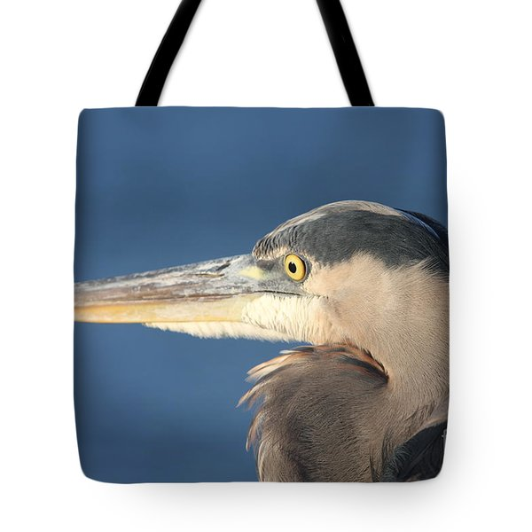 Tote Bag featuring the photograph Heron Close-up by Christiane Schulze Art And Photography