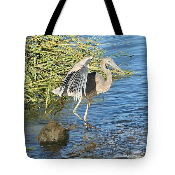Heron Dance Tote Bag by Karen Silvestri