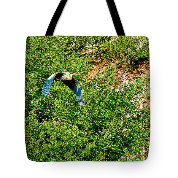 Heron Flies Over Oak Creek In Red Rock State Park Sedona Arizona Tote Bag by Bob and Nadine Johnston