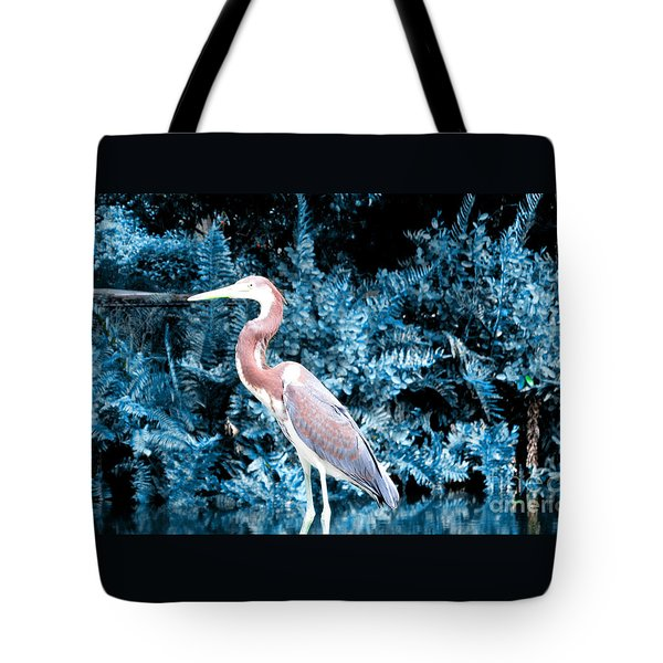 Heron In Blue Tote Bag