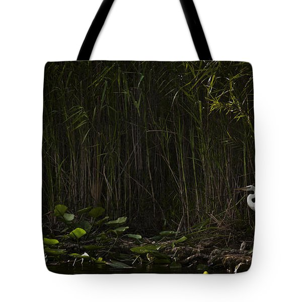 Heron In Grass Tote Bag