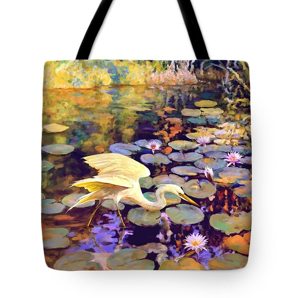Heron In Lily Pond Tote Bag