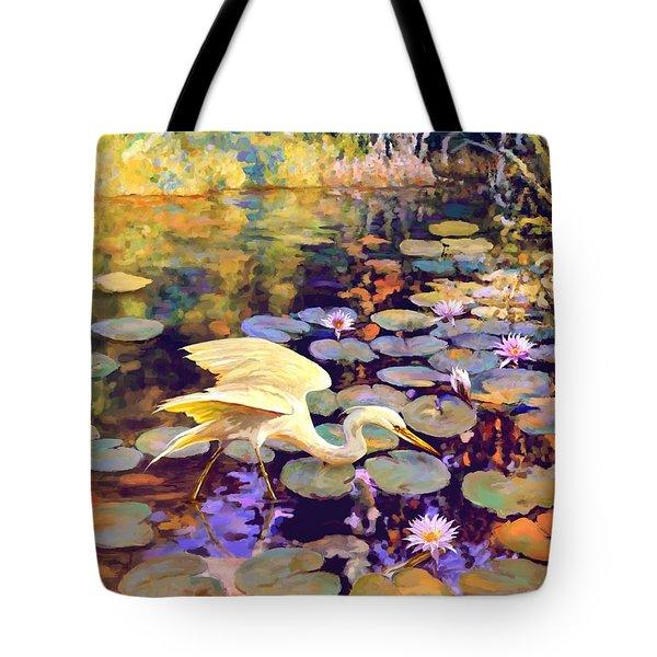 Heron In Lily Pond Tote Bag