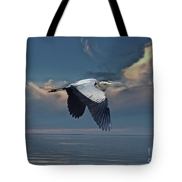 Heron Night Flight  Tote Bag by Andrea Kollo