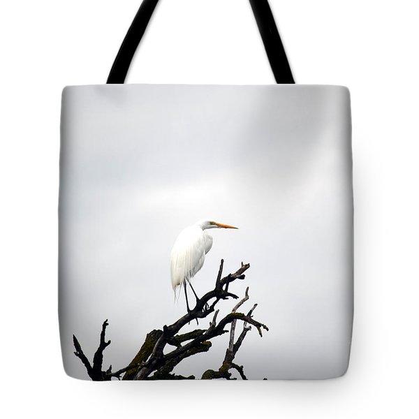 Heron On A Dead Tree Tote Bag
