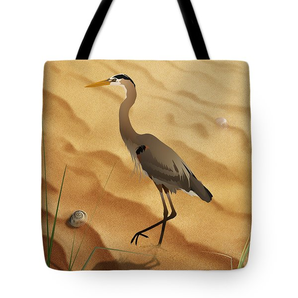 Heron On Golden Sands Tote Bag