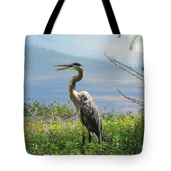 Heron On Lake Tote Bag