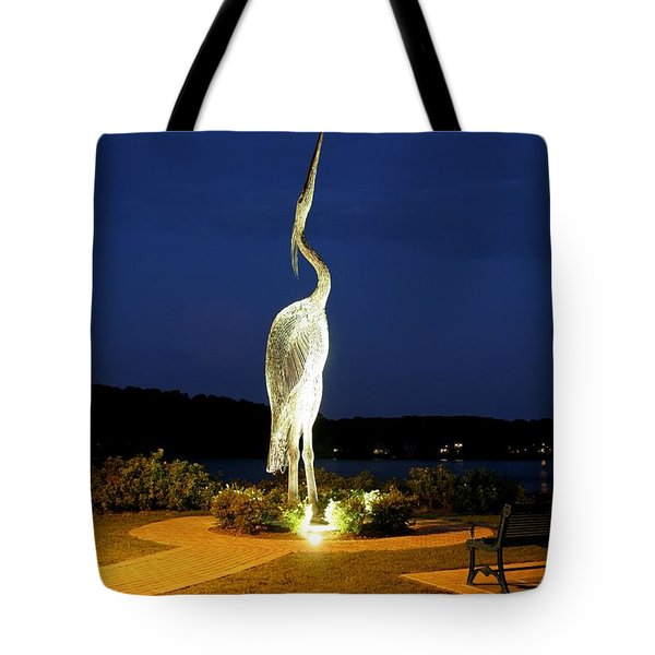 Heron On Mill Pond Tote Bag