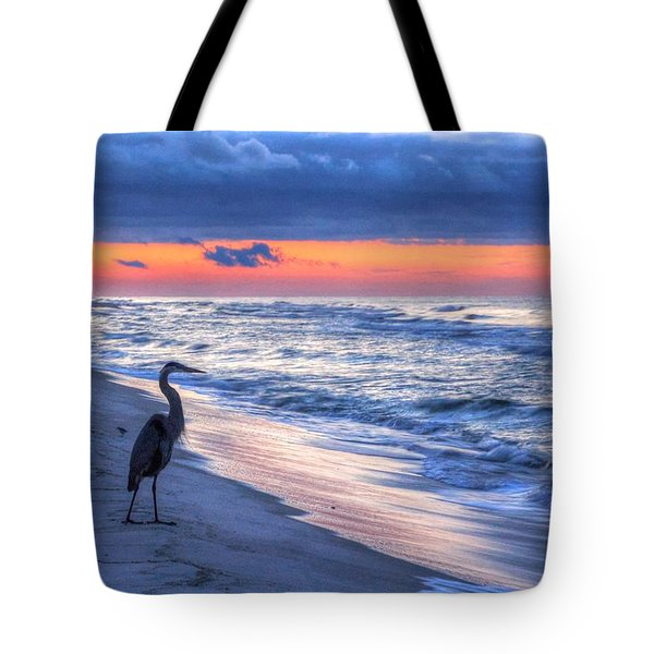 Heron On Mobile Beach Tote Bag by Michael Thomas