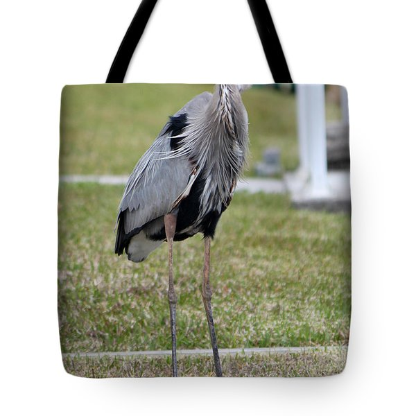 Heron On The Edge Tote Bag by Debbie Hart