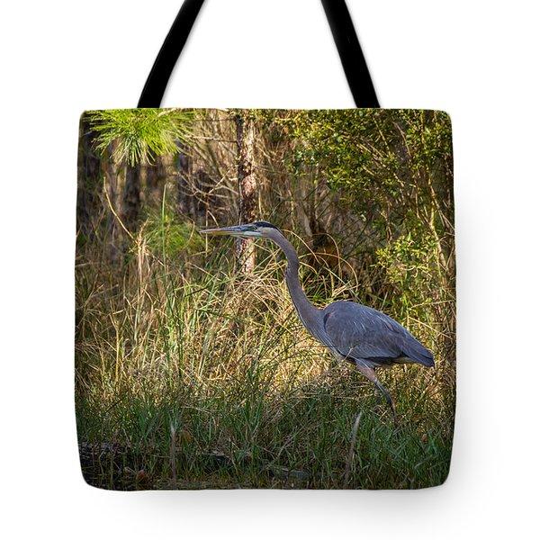 Heron On The Hunt Tote Bag