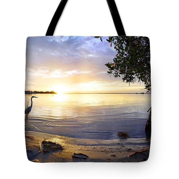Heron Sunrise Tote Bag by Francesa Miller