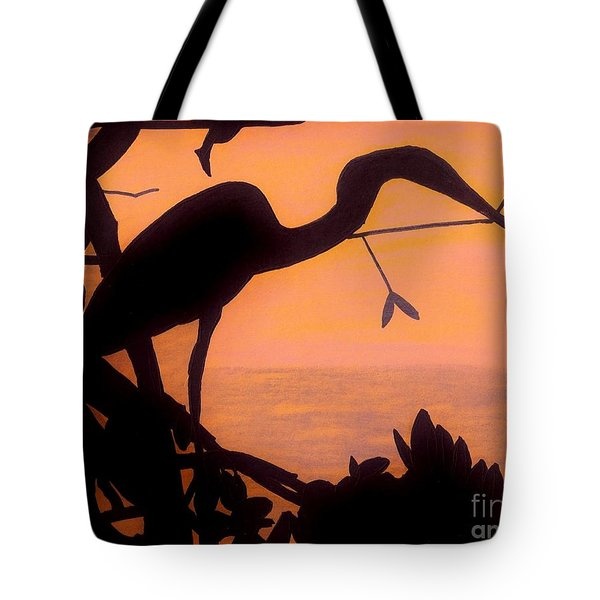 Tote Bag featuring the drawing Heron Sunset by D Hackett