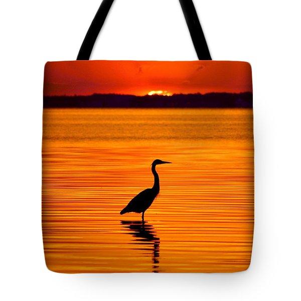 Heron With Burnt Sienna Sunset Tote Bag