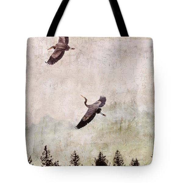 Tote Bag featuring the photograph Herons In Flight Monotone by Peggy Collins
