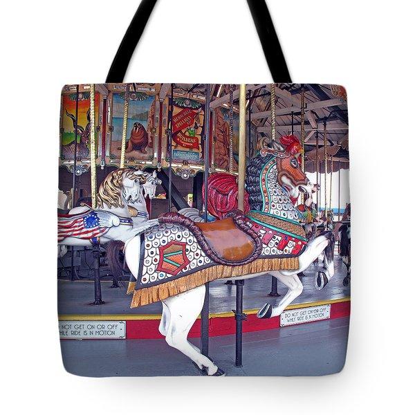 Herschell Spillman Armored Horse Tote Bag