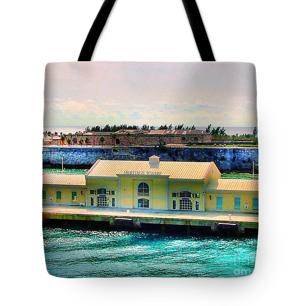 Tote Bag featuring the photograph Hertiage Wharf by Judy Palkimas