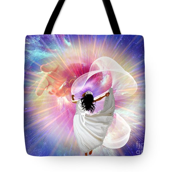 He's Here Tote Bag by Dolores Develde
