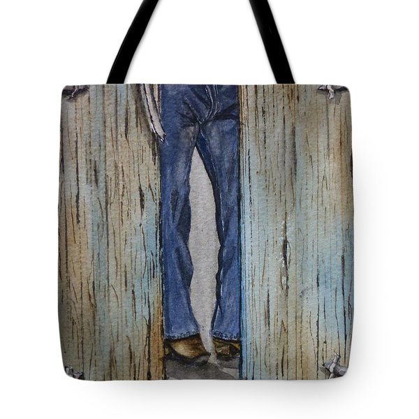 Tote Bag featuring the painting Blue Jeans Looking Good by Kelly Mills