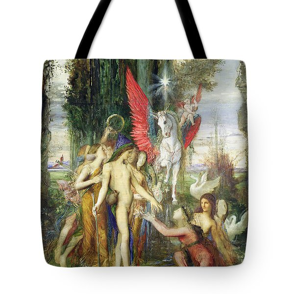 Hesiod And The Muses Tote Bag by Gustave Moreau