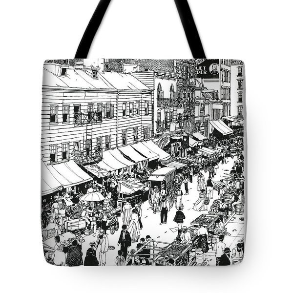 Tote Bag featuring the drawing Hester Street by Ira Shander