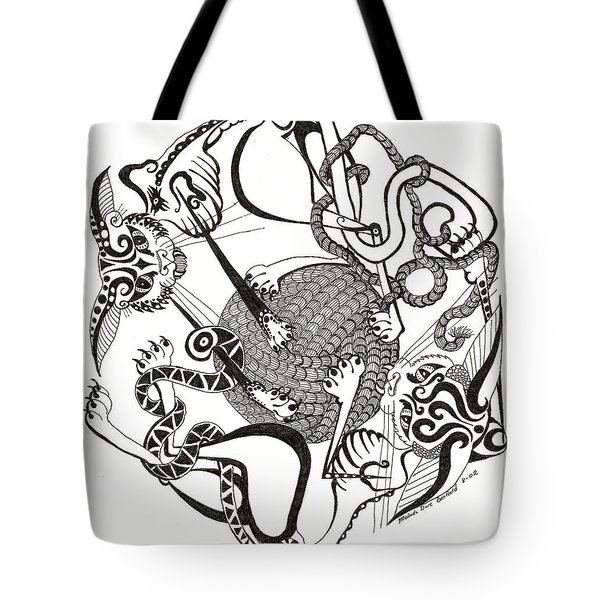 Hexagon Cats Tote Bag by Melinda Dare Benfield