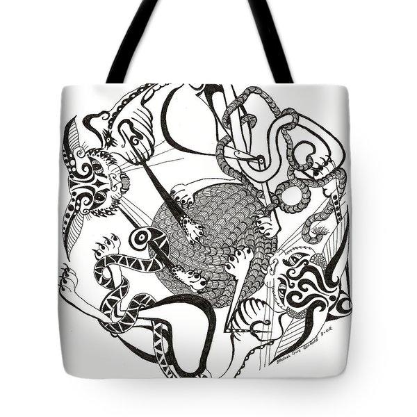 Hexagon Cats Tote Bag