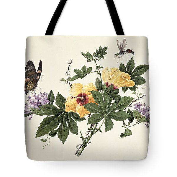 Hibiscus And Butterfly Tote Bag