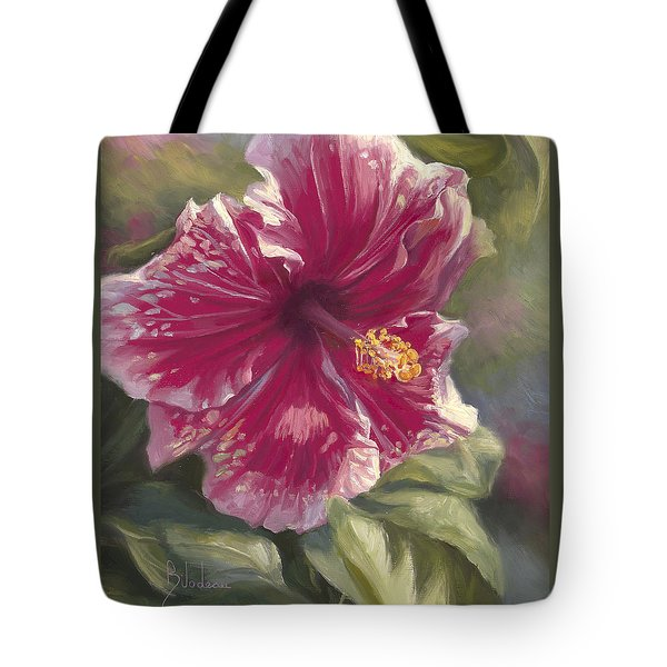 Hibiscus In Bloom Tote Bag by Lucie Bilodeau