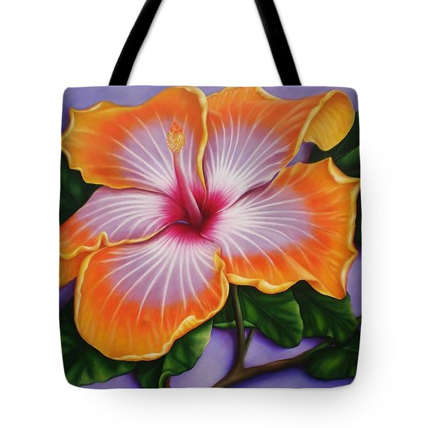 Tote Bag featuring the painting Hibiscus by Paula L