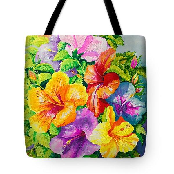 Hibiscus Rainbow Array Tote Bag