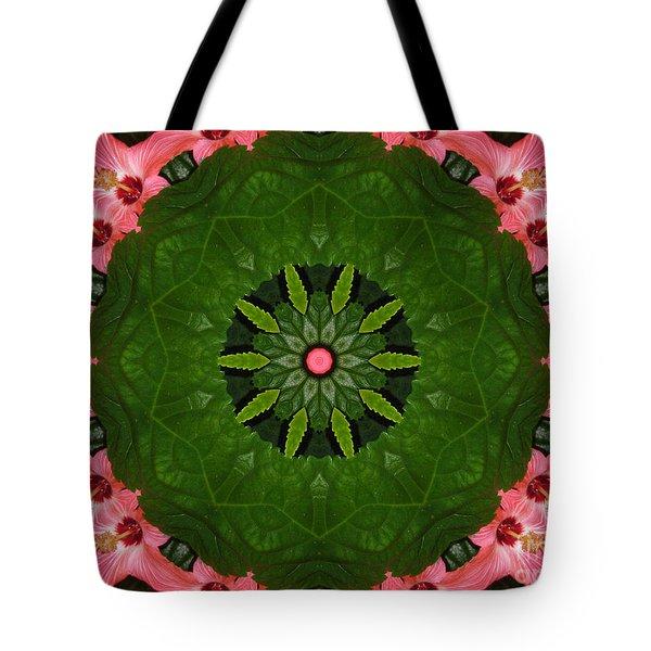 Tote Bag featuring the digital art Hibiscus Reflection Design by Oksana Semenchenko