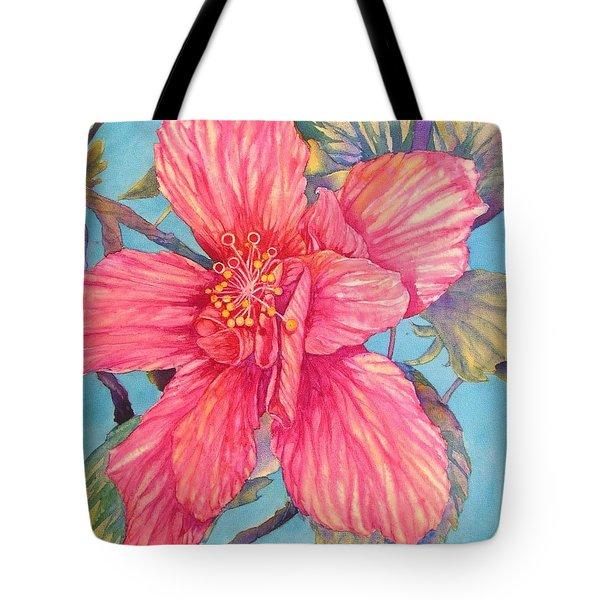 Hibiscus Stripes Tote Bag