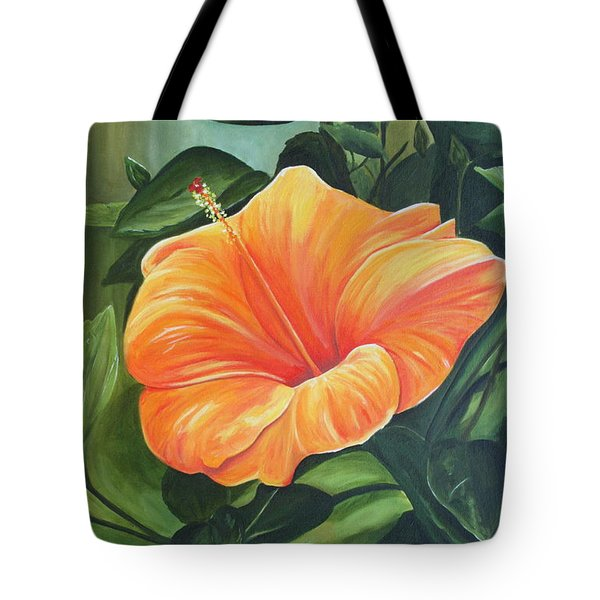 Hibiscus - Tangerine Tote Bag by Lyndsey Hatchwell