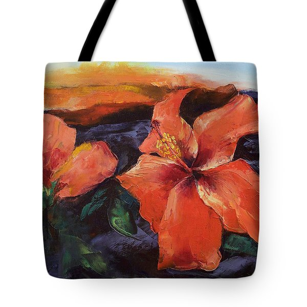 Hibiscus Volcano Tote Bag