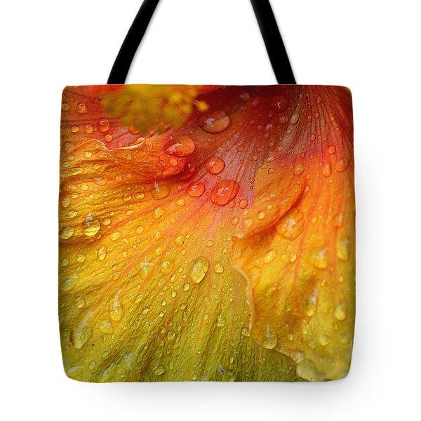 Hibiscus Water Drops Tote Bag by Lisa L Silva