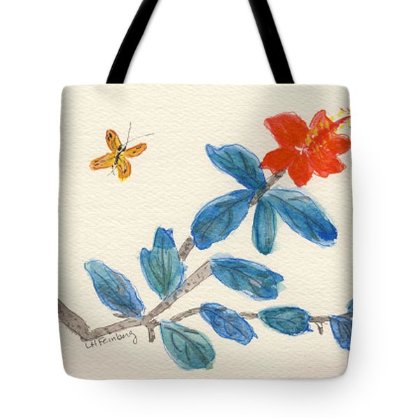 Hibiscus With Butterfly Tote Bag