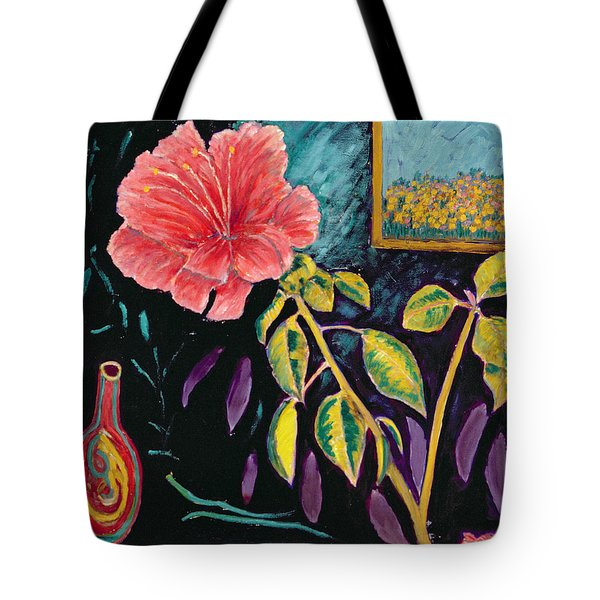 Hibiscus With Vase Tote Bag