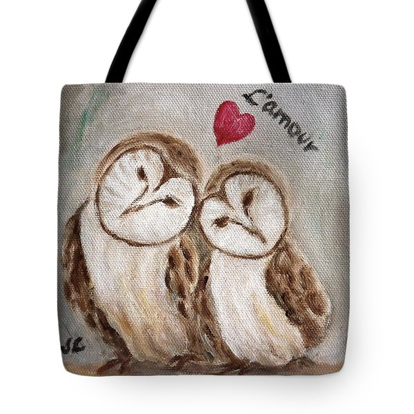 Hiboux Dans L'amour Tote Bag by Victoria Lakes