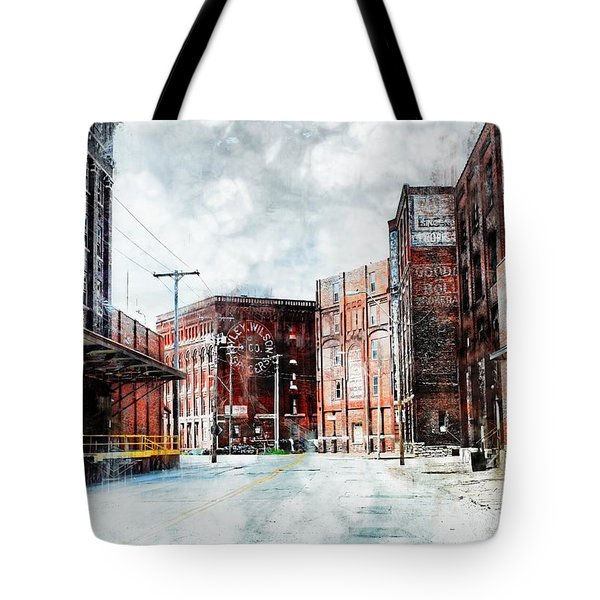 Hickory - Urban Building Row Tote Bag by Liane Wright