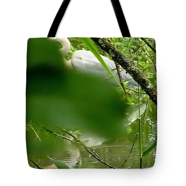 Tote Bag featuring the photograph Hidden Bird White by Susan Garren